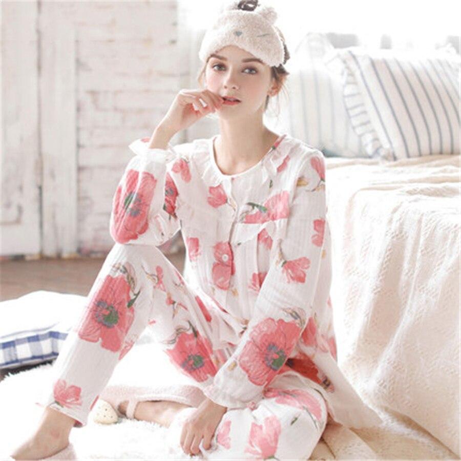 цена на Maternity Breastfeeding Clothes Winter Fall Cotton Sleepwear Nursing Pajamas Set Long Sleeve Clothes For Pregnant Women 70M0205
