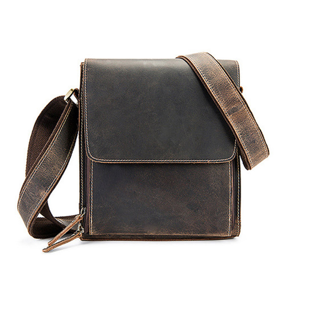Genuine Leather Men Handbag Bag Mens Messenger Shoulder Hand Bag Crazy Horse Business Briefcase Male Cross Body Flap Casual Tote