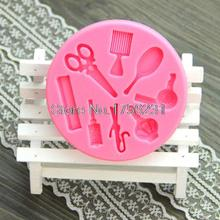 Makeup Mirror Tool Comb Hair Dryer Cooking Tools Silicone Fondant Gum Paste Mold Cake Decorating Clay Resin Candy Fimo A391