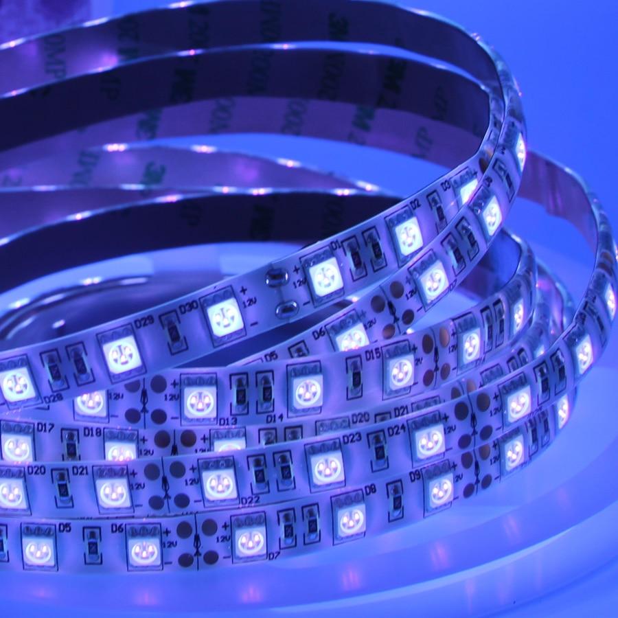 HTB1m1SLfXTM8KJjSZFlq6yO8FXar UV Led Strip light 5050 SMD 60leds/m 395-405nm Ultraviolet Ray LED Diode Ribbon Purple Flexible Tape lamp for DJ Fluorescence