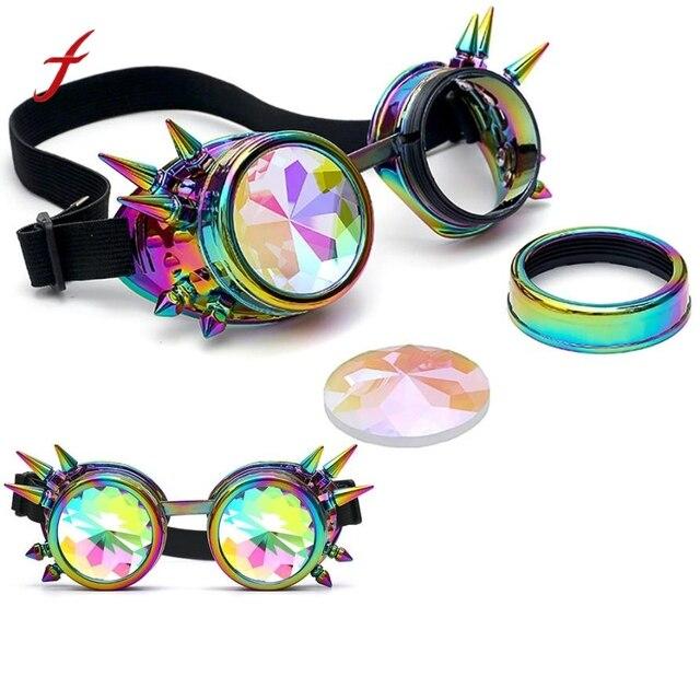 f3f9adda914fb 2017 Novo Design de Óculos de Sol Óculos de Oculos Caleidoscópio Colorido Óculos  Rave Partido Festival