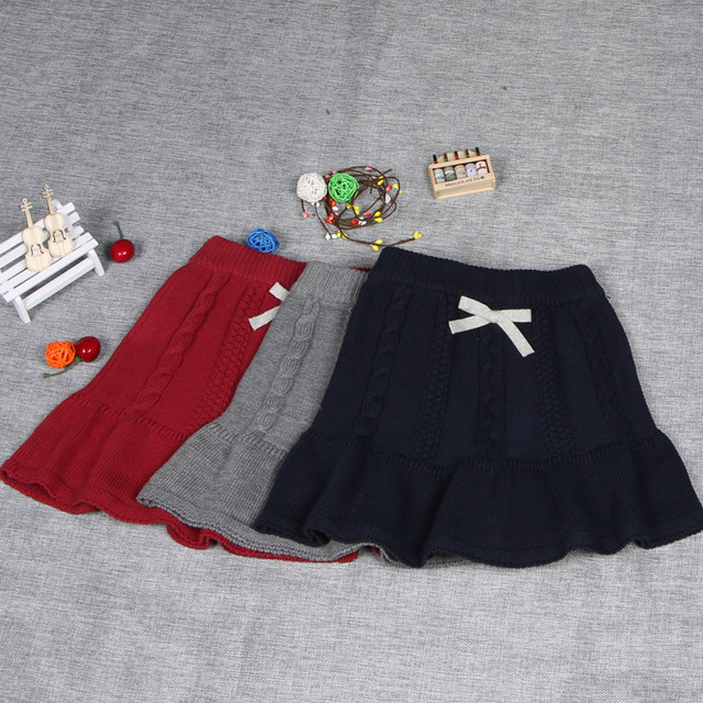 Kids Girls Solid Jacquard Knit Skirt Cotton Girl Sweater Skirt Autumn Baby Girls Sweater Princess Tutu Skirt with bow 1-5 years