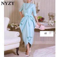 Elegant Modest Arabic Evening Dress 2019 NYZY C172 Half Sleeves Ankle Length Formal Dress Party Gown Robe Soiree Vestido Longo