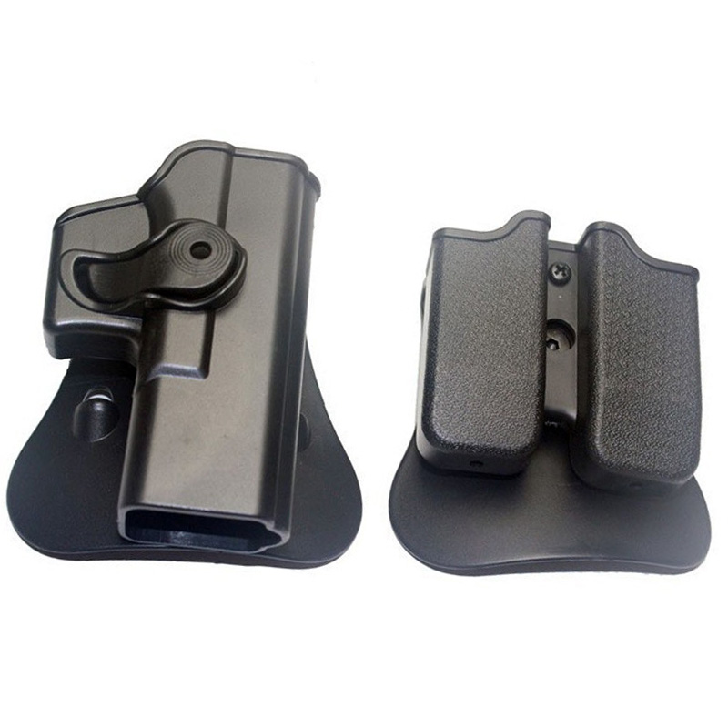 Hunting IMI Holster Glock 17 19 Right Hand Belt Loop Paddle Platform Tactical Gun Pistol Holsters with Magazine Clip Pouch Black tactical 1911 leg holster right thigh paddle belt level 3 lock duty pistol gun holster w magazine torch pouch for colt 1911