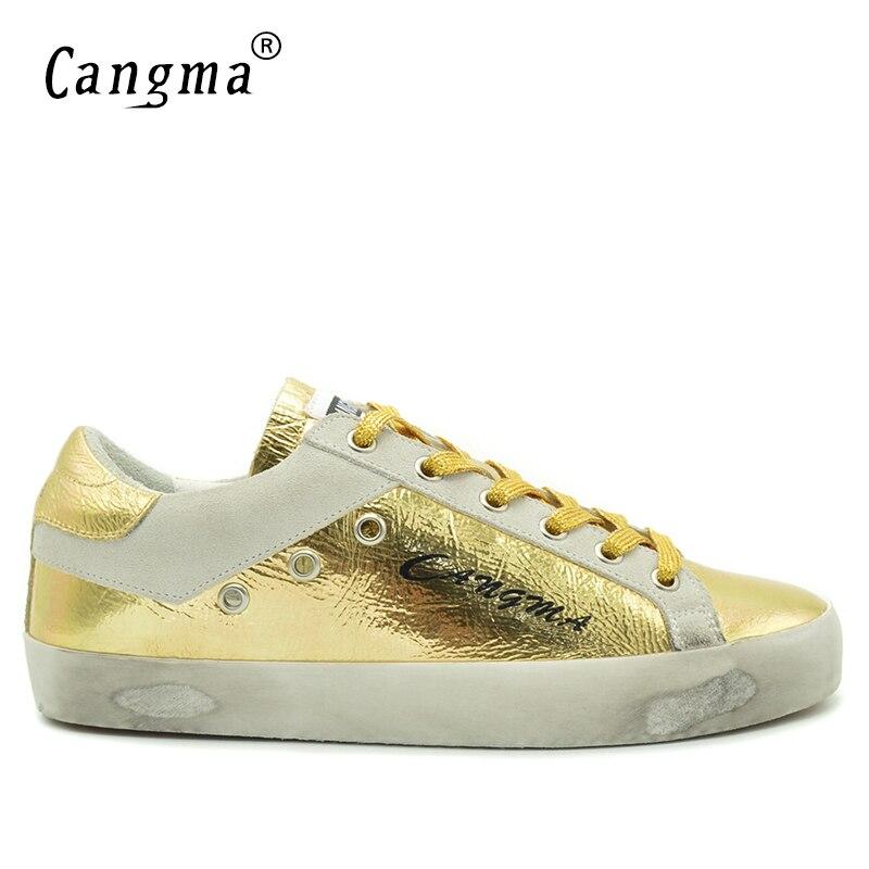 2d8195cd3ece CANGMA Vintage Herren Gold Schuhe Aus Echtem Leder Herbst Luxusmarke  Freizeitschuhe Sneakers Mann 2017 Atmungsaktiv Männlichen Männer Wohnungen  in CANGMA ...
