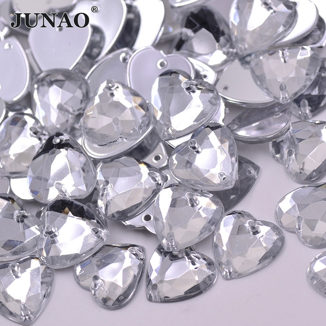 16mm Sewing Clear Crystal Heart Shape Rhinestone Sew On Acrylic Gems  Flatback Strass Crystal Stones for Clothes 6fced7f7e959