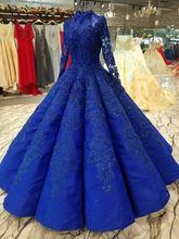 Высококачественные ярко синие Бальные платья вечерние 2018 винтажные