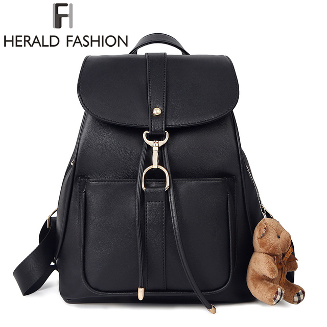 HERALD FASHION Women Backpack High Quality Leather Backpack Casual ...
