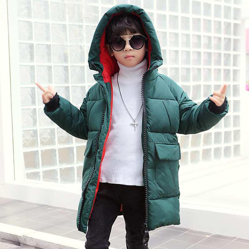 boys winter Coat hooded 4-11 years old kids down jacket children's parkas hot sale thick Windproof and warm Long trench coat 2017 new winter fashion women down jacket hooded thick super warm medium long female coat long sleeve slim big yards parkas nz18