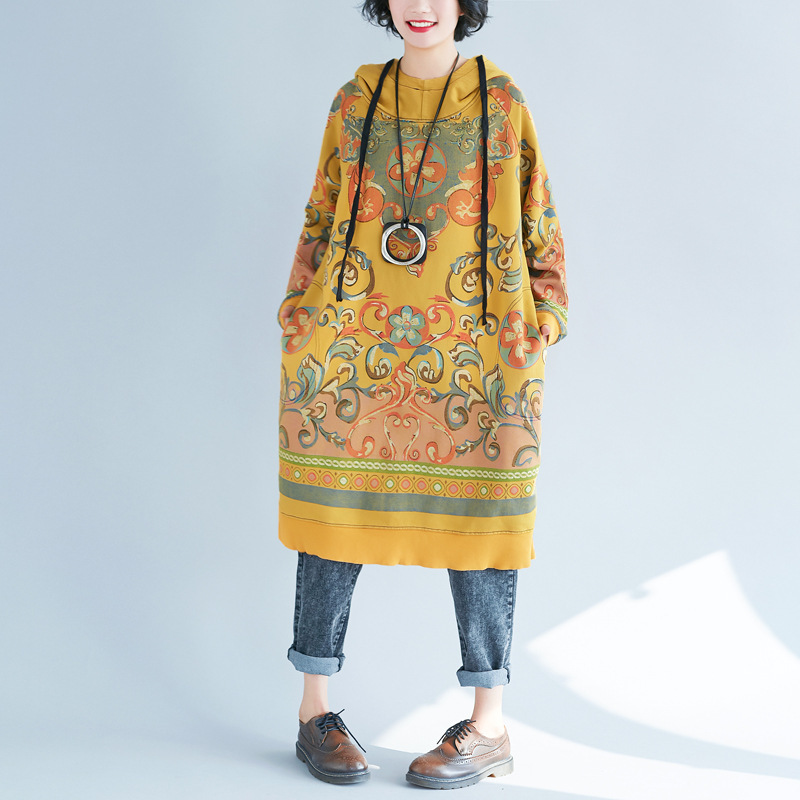 Vintage imprimé femmes robe longue lâche grande taille robes décontracté à capuche pull décontracté personnalité pull marée femmes chaudes vêtements