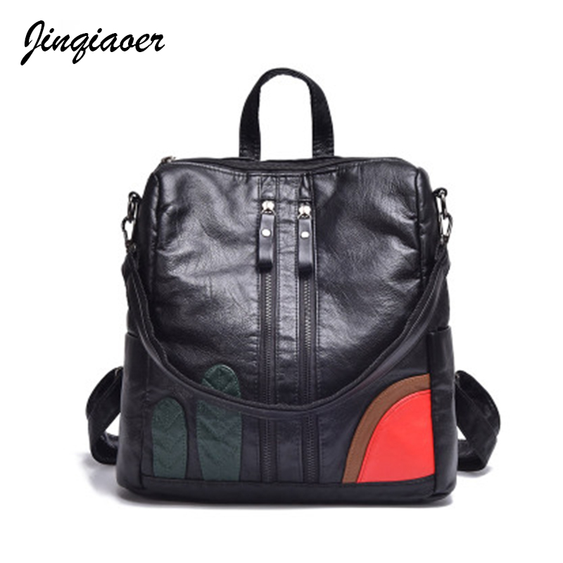 2018 Fashion Women Backpacks Famous Brand PU Leather Black Backpack For Female Preppy Style School Bags Travel Back Pack A6072/q