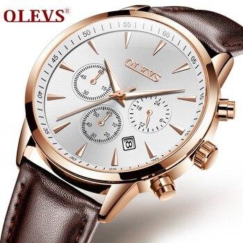OLEVS lumineux sport hommes montres marron bracelet en cuir affaires hommes montres à Quartz cadran or homme horloge montre cadeaux G2860