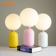 AIBIOU Designer LED Table Lamps With Glass Lampshade For Bedroom Metal Reading Bedside Lighting Colorful Hotel Desk Lights