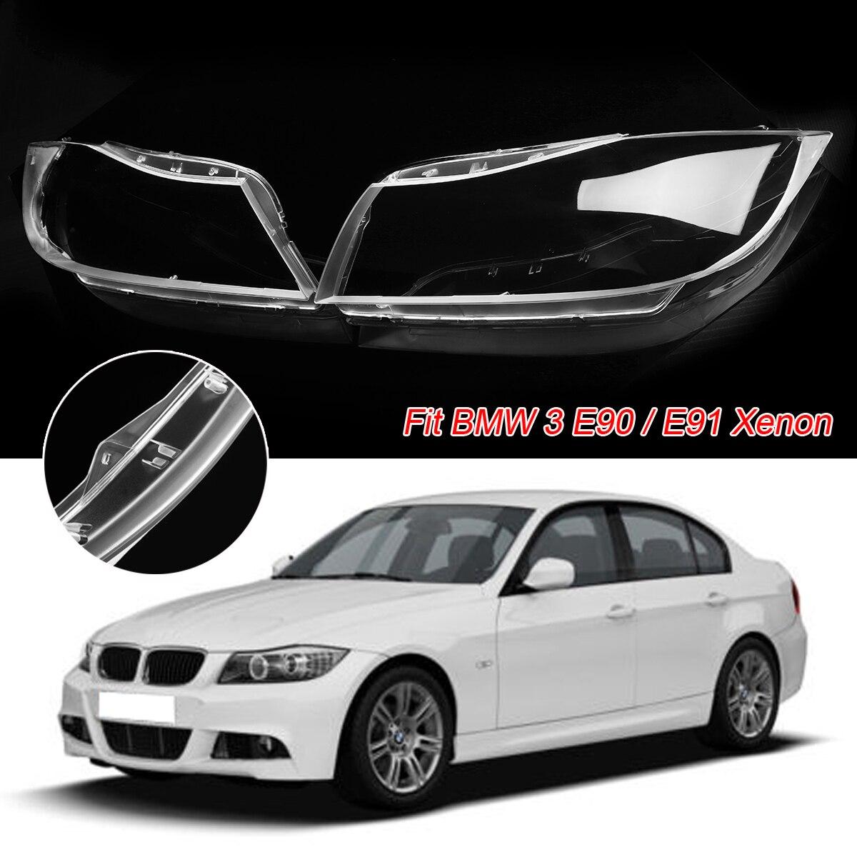 2 pcs Lentille de Phare En Plastique Couverture Pour BMW 3 E90 Berline/E91 Touring Seulement Pour XÉNON Clair Phare lentille Couvre En Coquille