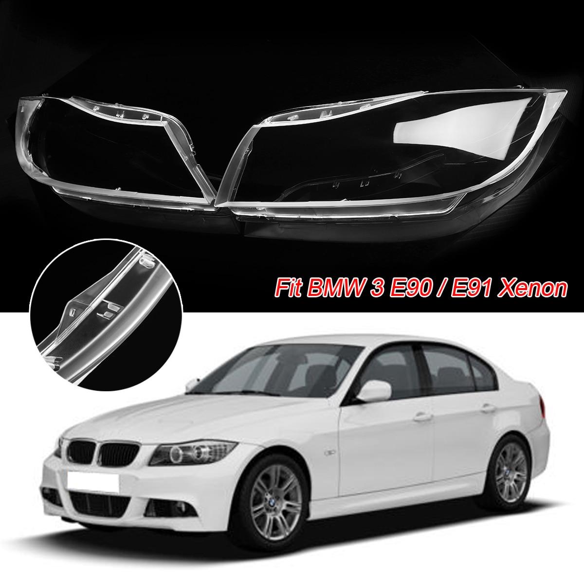 2 pz Lente Del Faro di Plastica Della Copertura Per BMW 3 E90 Sedan/E91 Touring Solo Per XENON Trasparente Del Faro Del Faro lente Coperture In Borsette