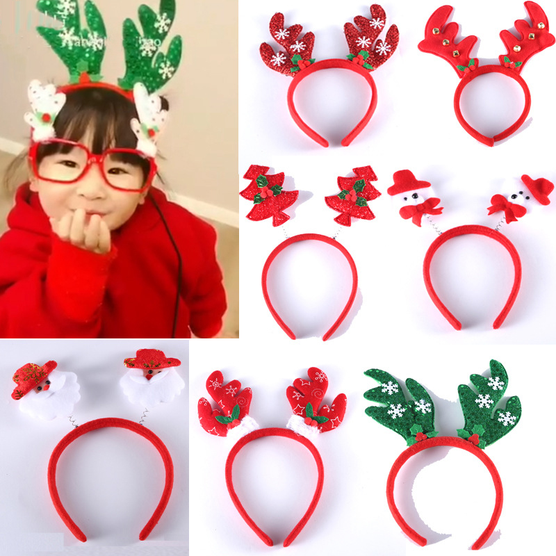 New Year 2019 Merry Christmas Kids Headband Party Decor Hair Band Clasp Head Hoop Toys  Hair Hoop, Cartoon Snowman