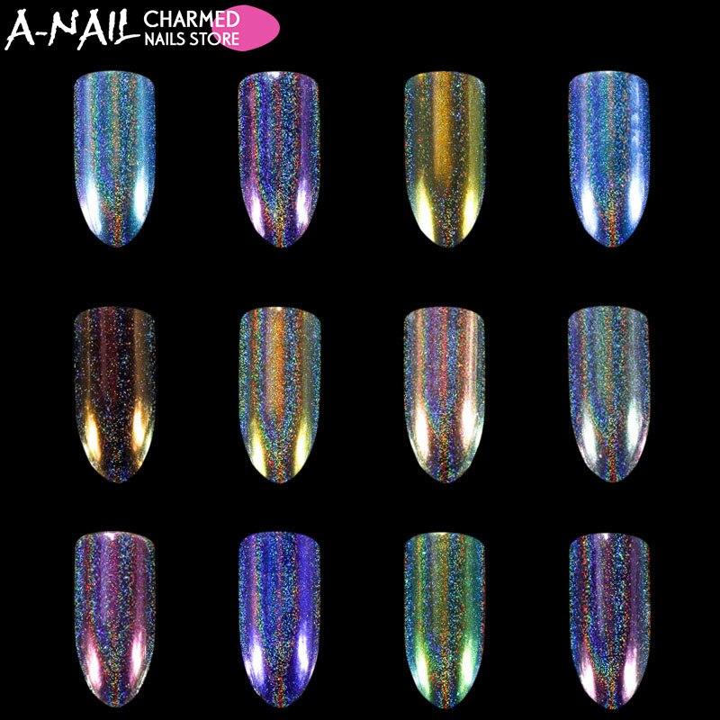 12 colori/set Unicorn Aurora Olografica Chameleon Glitter per unghie polvere Del Chiodo pigmenti Polvere Dazzling UV Del Gel Del Chiodo Decorazioni di arte