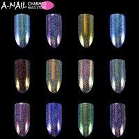 12 couleurs/set Licorne Aurora Holographique Caméléon Ongles Glitter poudre Nail pigments Poussière Éblouissant UV Gel Nail art Décorations