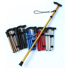 Folding Walking Stick Hiking Trekking Trail Ultralight 4-section Adjustable Cane #A