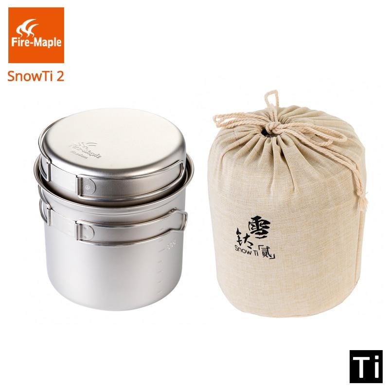 Boîte à dîner en érable feu Camping en plein air Chef Portable neige titane 0.9L Pot et poêle Ultra-léger Camping Pots Set FMC-ST2