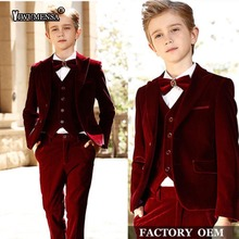 yiwumensa Custom Made Kids Formal Wear Burgundy Velvet Boys Wedding Suits 3 Pieces Pageboy Suit Blazer 1-14 years Boy's Suits