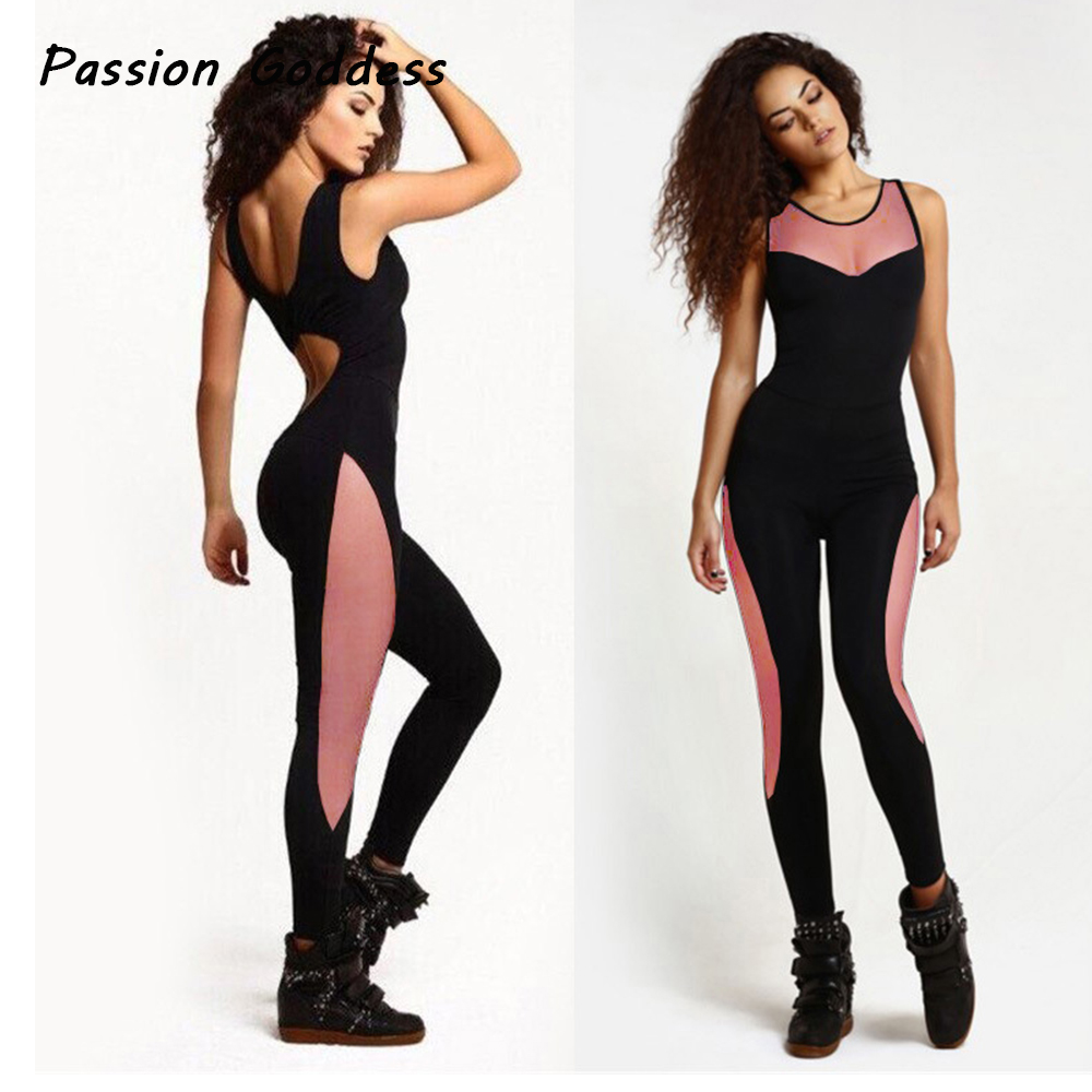 Sexy Lady Jumpsuit Sleeveless Backless Overall Women Patchwork Fitness Bodysuit Elastic Rompers Jogger Dancing Overalls Playsuit
