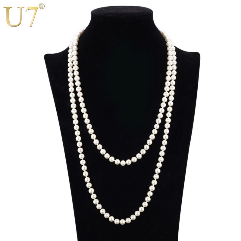 U7 European Style Simulated Pearl Jewelry Women Fashion ...