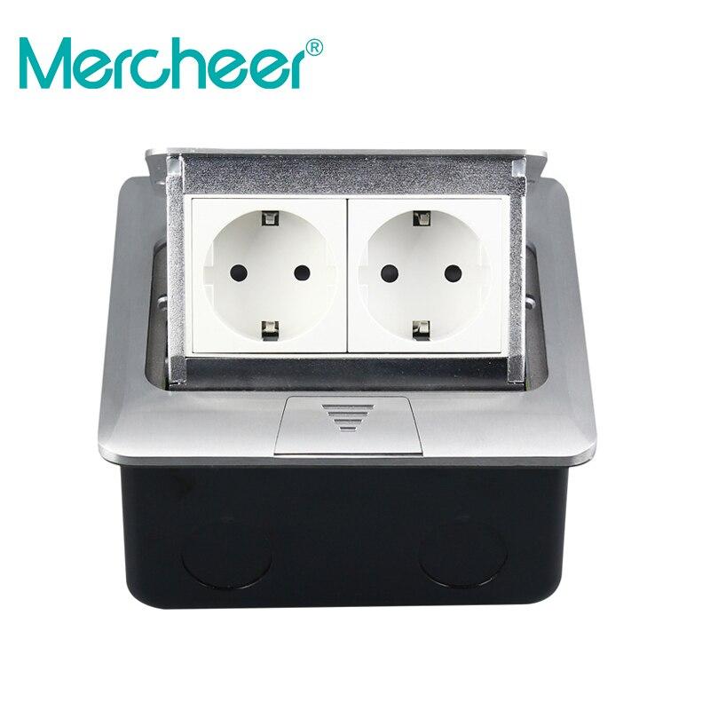 Mercheer Inserted Ground Socket All Aluminum Panel EU Standard Pop Up Floor Socket 2 Way Electrical
