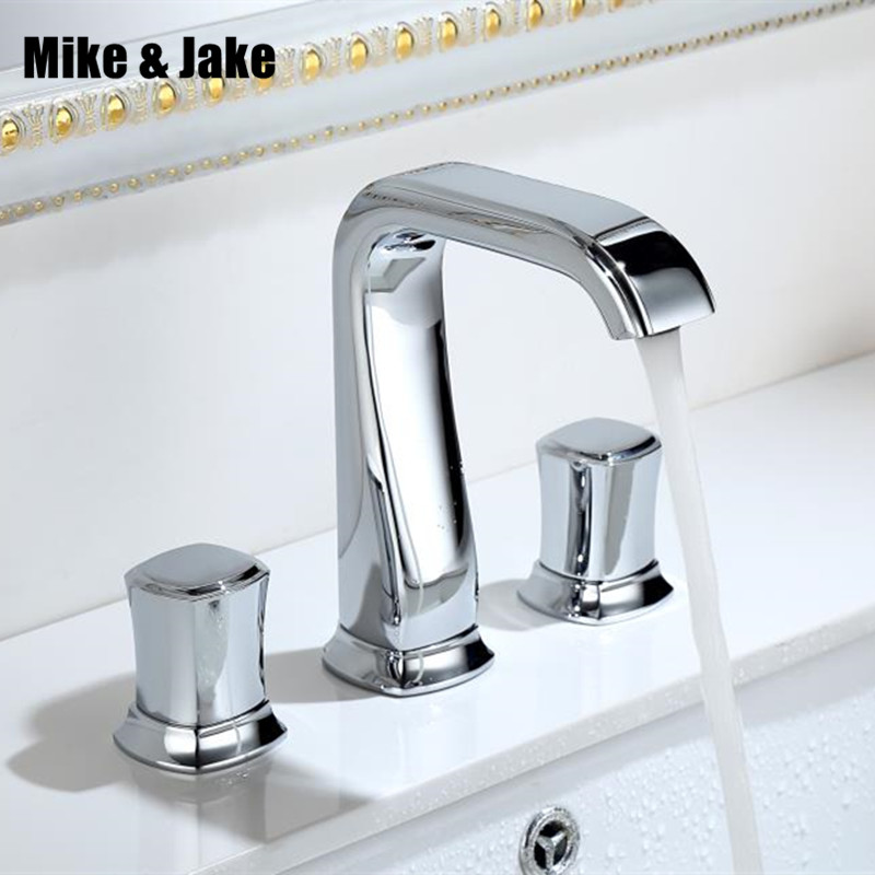 Bathroom 3pcs bathroom faucet mixer 3 hole basin faucet Tap double handle Basin Mixer Hot And Cold Water Wash Faucet MJ0285 bathroom faucet into the wall cold and hot water taps embedded type mixer double handles table basin wash basin faucet torneira