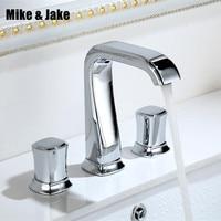 Bathroom 3pcs bathroom faucet mixer 3 hole basin faucet Tap double handle Basin Mixer Hot And Cold Water Wash Faucet MJ0285