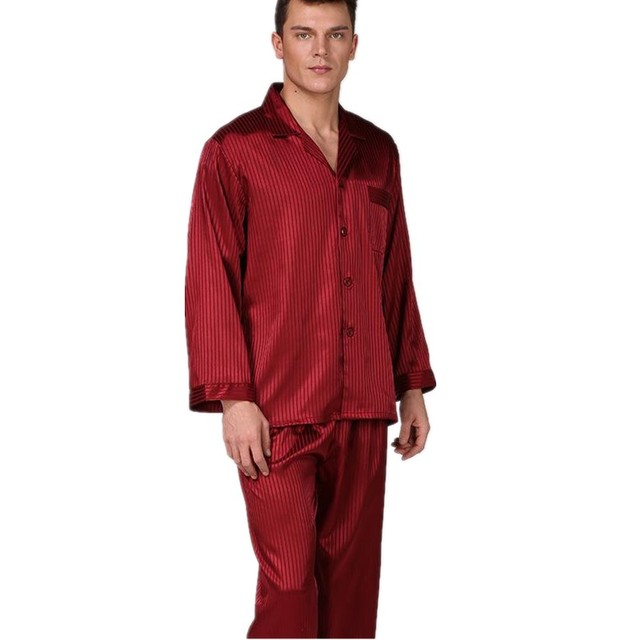 Spring Autumn Red Men Full Sleeve Pajamas Set Gentle Satin 2PCS Sleepwear Kimono Bathrobe Gown Silky Home Wear Plus Size XXXL