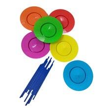 6ชุดพลาสติกแผ่นJuggling Propsประสิทธิภาพเครื่องมือเด็กฝึกสมดุลทักษะของเล่นบ้านสวนกลางแจ้ง