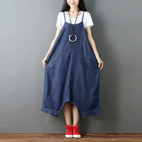 Summer Dress 2018 Women Loose Casual Denim Spaghetti Strap Dress Korea style Oversoze Sleeveless Casual Jeans dress sundresses