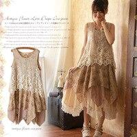 Japanese Summer Mori Girl Lolita Dress Women S Lace Patchwork Sleeveless Floral Printing Female Vestido Lovely