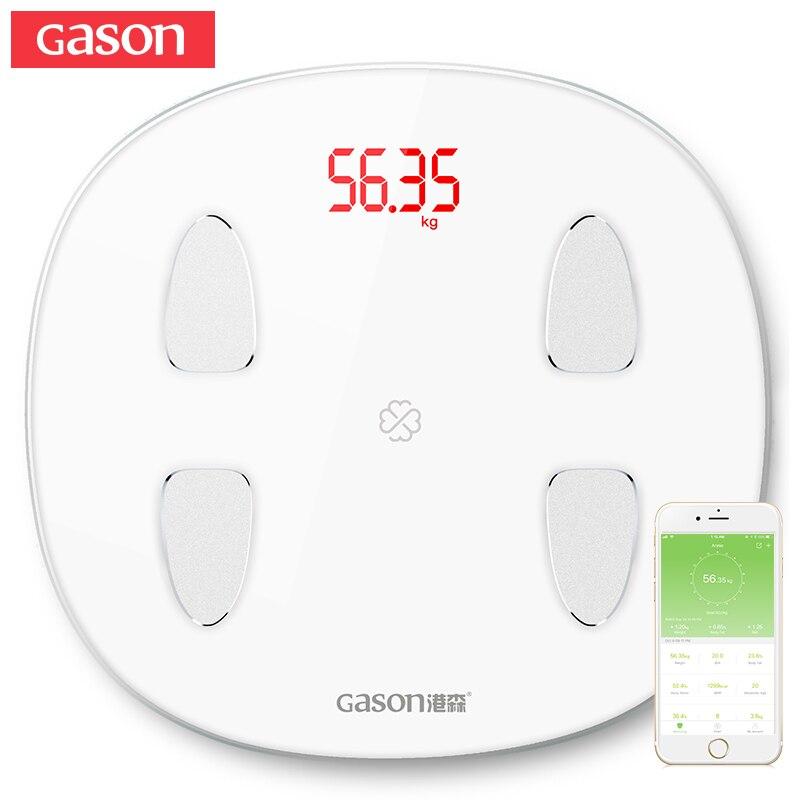 GASON S6 Körper Fett Skala Boden Wissenschaftliche Smart Elektronische LED Digital Gewicht Bad skala Balance Bluetooth APP Android oder IOS