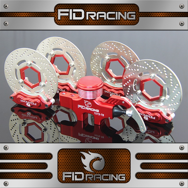 FID CNC Alloy 4 Wheel Hydraulic Brake Set 8 Piston Calipers Structure For HPI KM ROVAN Baja 5B SS T 1/5 Gas Rc Car Upgrade Parts main pump combination for gtb 4 wheel hydraulic brake set fit for 1 5 rc car hpi baja 5b ss