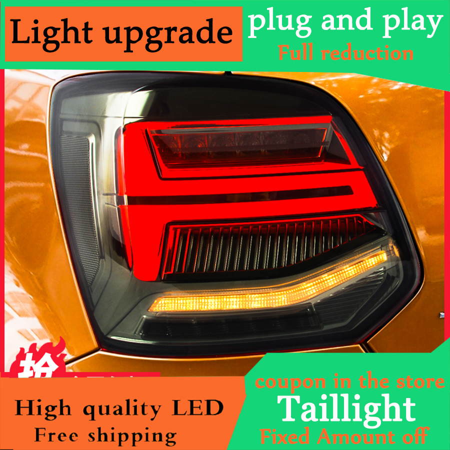 Car Styling For VW Polo MK5 Taillights 2011 2017 LED Dynamic Turn signal Rearlight LED Brake