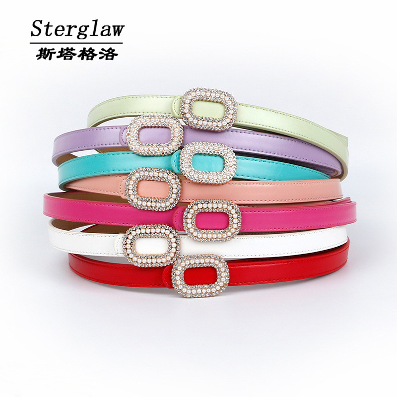 New Selling Rhinestone Pearl Slimming Leather Belt Women 2020 Designer Pu Female Belt Cinturones Mujer Pedreria Sterflaw A001