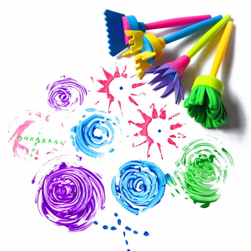 4pcs/set Baby DIY Painting Sponge Brush Tools Drawaing Stamp Toy Flower Sponge Brush Set Learning Education Toys For Children