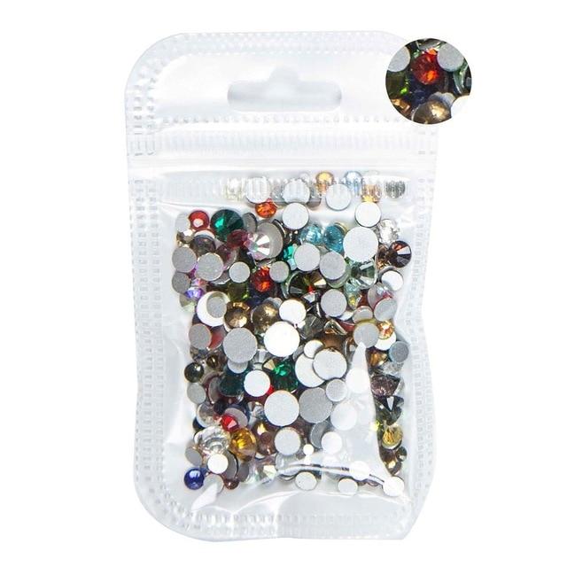 350 шт, 5 грамм, смешанные размеры, ss3-ss30, синий/зеленый/розовый/белый опал, 3D хрустальные стразы для дизайна ногтей, плоские с оборота стеклянные украшения для ногтей - Цвет: Mix Colors