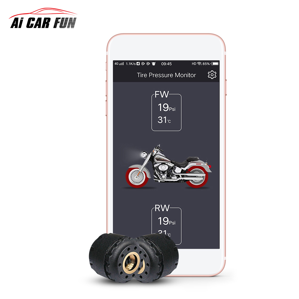Motorcycle Bluetooth TPMS Tire Pressure Monitoring System Phone APP Monitoring with 2 External Sensors and a Wrench Motorcycle Tyre Pressure Sensor