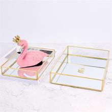 Desktop Storage Decorative Plate Gold Rimmed Glass Storage Tray Nordic Gold Jewelry Plate Home Decoration Place Cosmetics