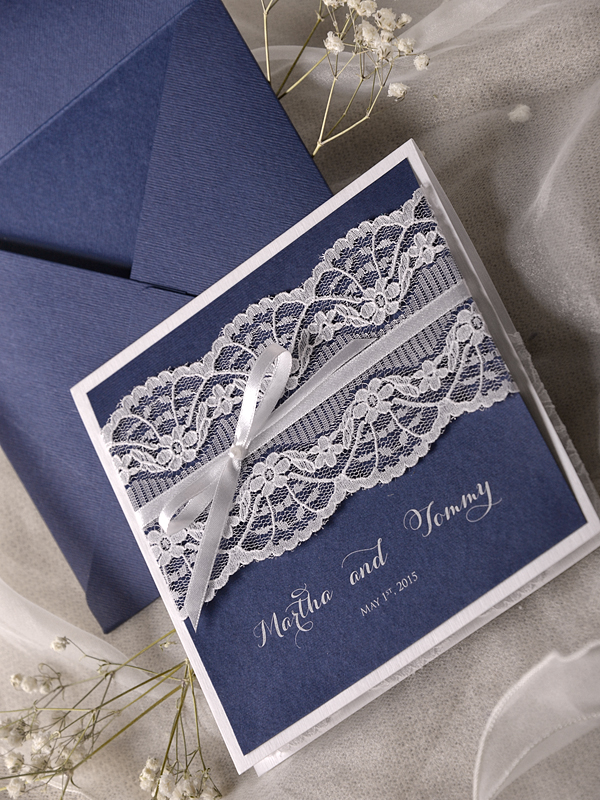 CA0728 Handmade Navy Blue Lace Wedding Invitation Cards-in Cards ...