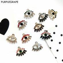 Alloy Diamond Diy Earrings Jewelry Accessories Material Jewelry Pendant Eye Shape Fashion 4pcs