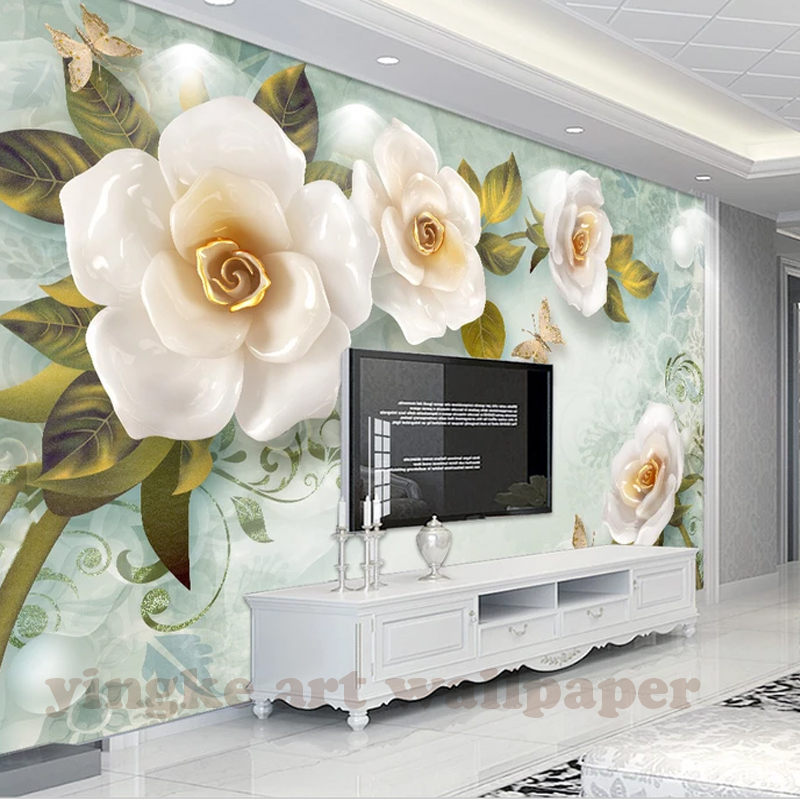 Custom 3d Photo Wallpaper For Walls 3 D Wall Murals 3d Stereoscopic Embossed Rose TV Background Vintage Mural For Home Decor