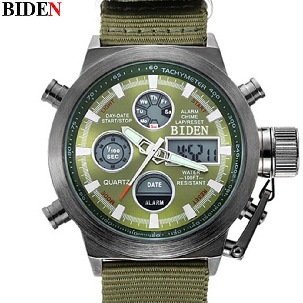 Brand BIDEN Quartz Digital Sports Watches Men Leather Nylon LED Military Army Waterproof Diving Wristwatch Men's Watch
