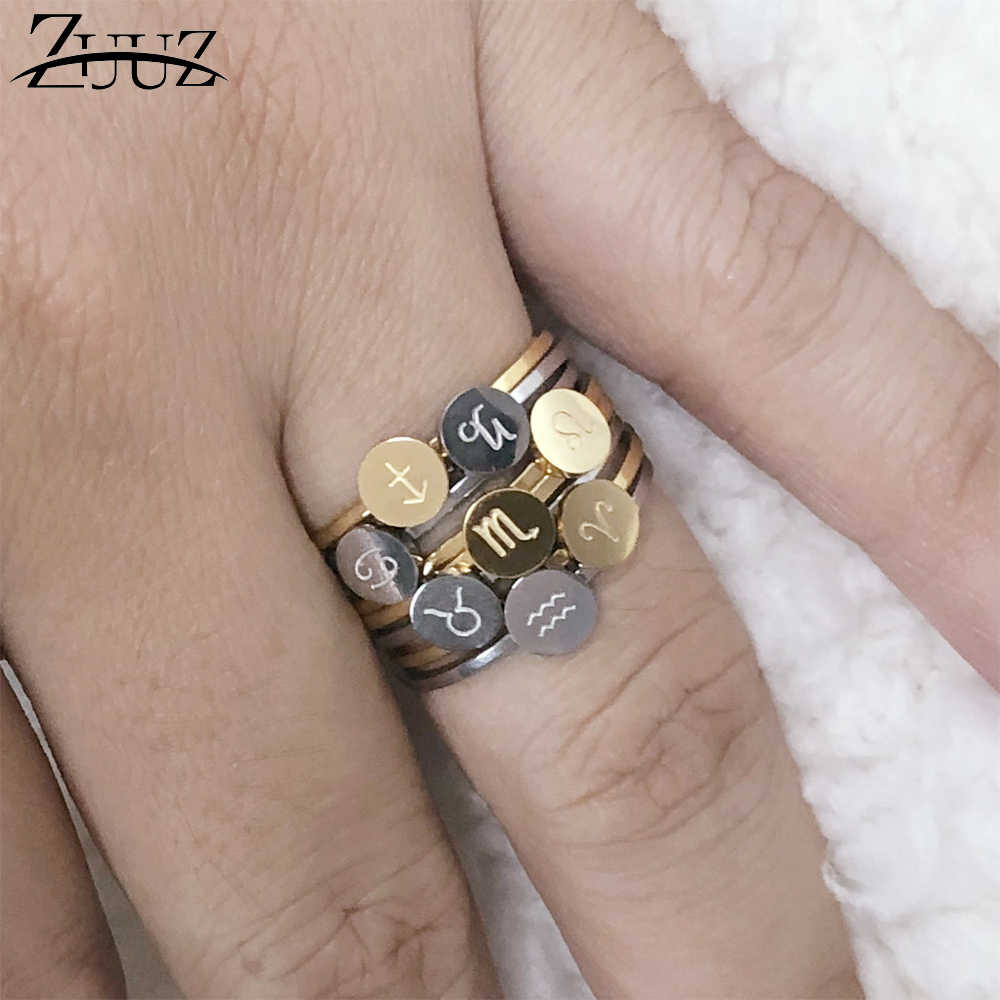 ZUUZ stainless steel rings for women men silver gold stainless steel finger ring constellations couple female jewellery girl
