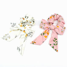 Women Ribbon Hair Rope Ring Print Streamer Hair Bands Scrunchies Ponytail Holder Tie Girls Headwear Hair Accessories(China)