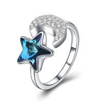 S 925 Sterling Silver Crystal Moon Star Ring Dazzling CZ Open Finger Ring For Women Wedding