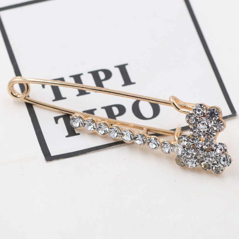 Berlian Imitasi Bunga Besar Pin Bros untuk Wanita Mantel Syal Aksesoris Wanita Bros Pin Ulang Tahun Pesta Hadiah Perhiasan